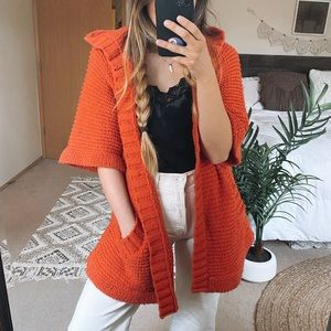 Free People Short Sleeve Hooded Cardigan